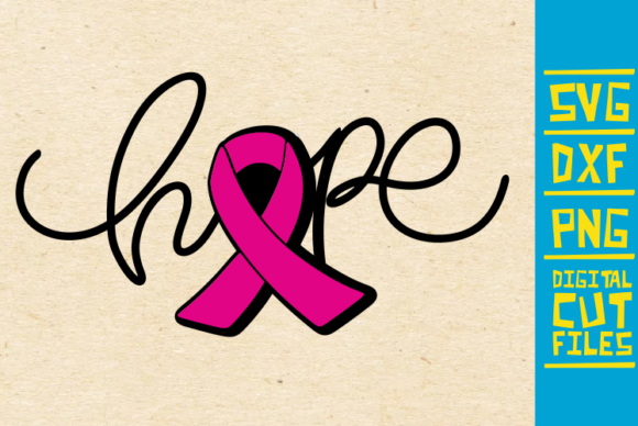 Download Free Hope Breast Cancer Pink Ribbon Graphic By Svgyeahyouknowme for Cricut Explore, Silhouette and other cutting machines.