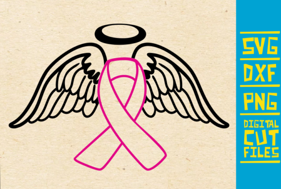 Download Free Angel Wings Breast Cancer Ribbon Graphic By Svgyeahyouknowme for Cricut Explore, Silhouette and other cutting machines.