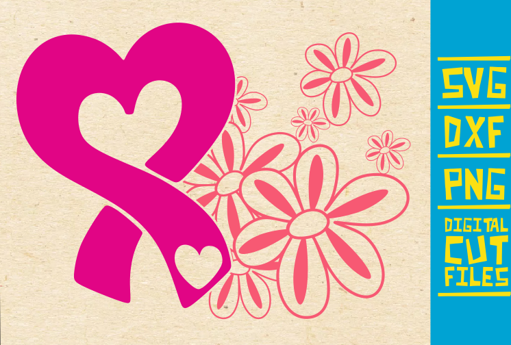 Heart Breast Cancer Pink Ribbon Graphic By Svgyeahyouknowme