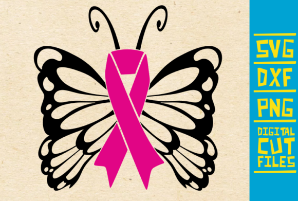 Download Free Swirly Butterfly Breast Cancer Graphic By Svgyeahyouknowme for Cricut Explore, Silhouette and other cutting machines.
