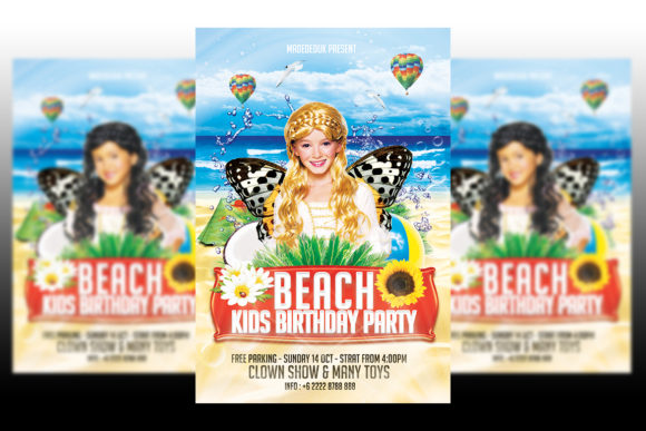 Download Free Kids Birthday Party Flyer Grafico Por Matthew Design Creative for Cricut Explore, Silhouette and other cutting machines.