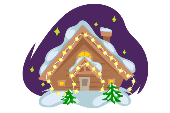 Download Free House With Christmas Lights And Two Fir Trees Creative Fabrica for Cricut Explore, Silhouette and other cutting machines.
