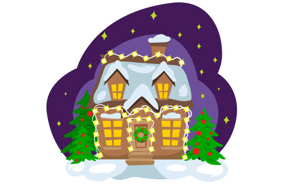 House With Christmas Lights Svg Cut File By Creative Fabrica