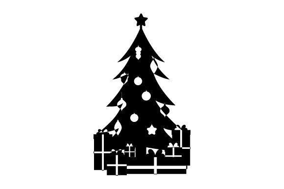 Download Free Christmas Tree With Star Topper Ornaments And Gifts Svg Cut File for Cricut Explore, Silhouette and other cutting machines.