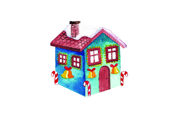 Download Free Blue House With Christmas Lights Watercolor Svg Cut File By for Cricut Explore, Silhouette and other cutting machines.