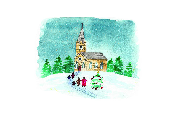 Family Walking in Winter Clothes to Church - Watercolor Christmas Craft Cut File By Creative Fabrica Crafts