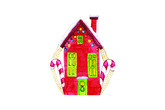 Download Free Red House With Christmas Lights Watercolor Svg Cut File By for Cricut Explore, Silhouette and other cutting machines.