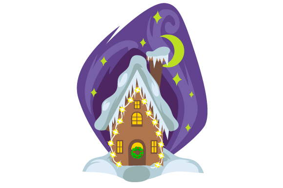Download Free House With Christmas Lights And Moom Svg Cut File By Creative for Cricut Explore, Silhouette and other cutting machines.