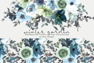 Icy Blue Watercolor Floral Clipart Set Graphic By Patishop Art