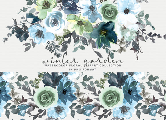 Icy Blue Watercolor Floral Clipart Set Gráfico Por Patishop Art
