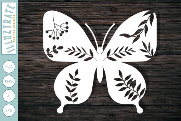 Print on Demand: Detailed Butterfly Cut File Gráfico Crafts Por illuztrate