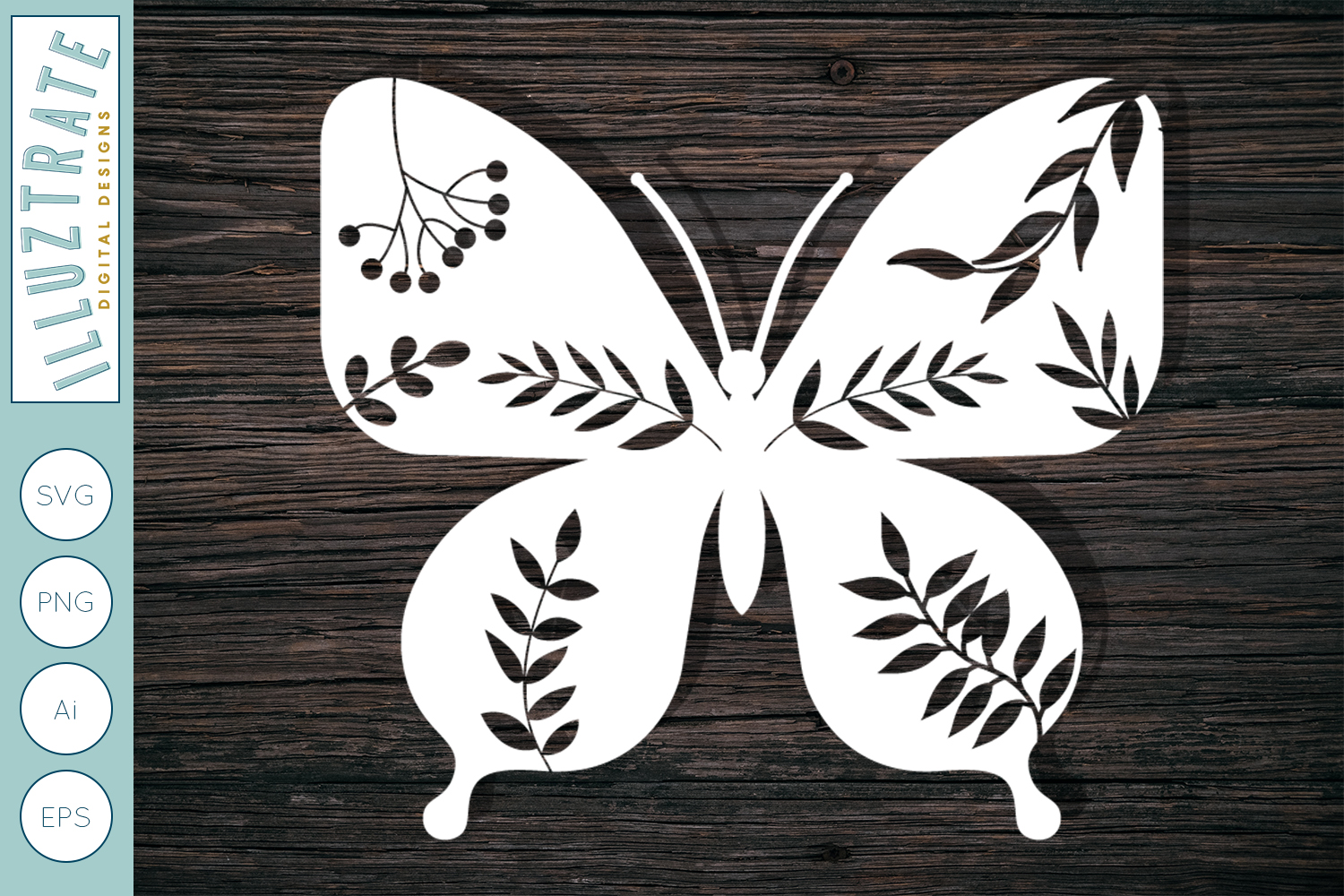 Download Free Detailed Butterfly Cut File Graphic By Illuztrate Creative Fabrica for Cricut Explore, Silhouette and other cutting machines.