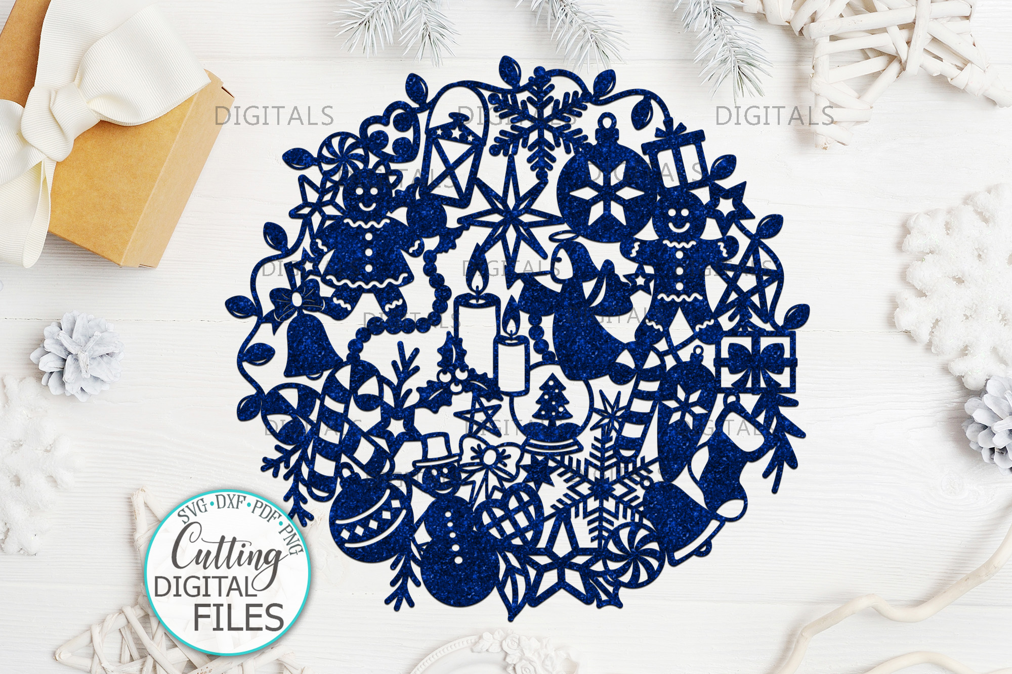 Download Free Assorted Christmas Ball Svg Paper Cut Graphic By Cornelia for Cricut Explore, Silhouette and other cutting machines.