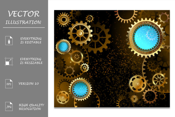 Dark Background with Gears ( Steampunk ) Graphic Illustrations By Blackmoon9