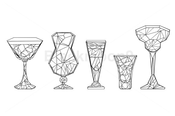 Set of Polygonal Wineglass Graphic Illustrations By Blackmoon9