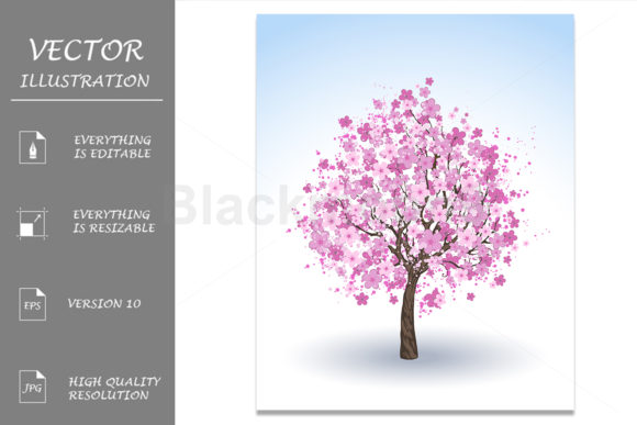 Download Free Flowering Cherry Tree Graphic By Blackmoon9 Creative Fabrica for Cricut Explore, Silhouette and other cutting machines.