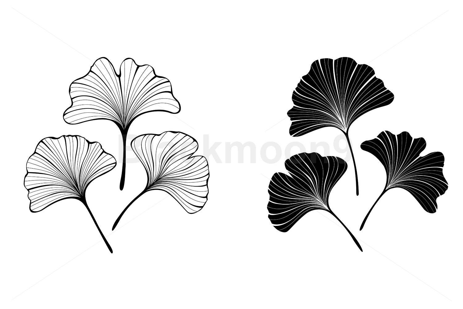 Download Free Monochrome Leaves Of Ginko Biloba Graphic By Blackmoon9 for Cricut Explore, Silhouette and other cutting machines.