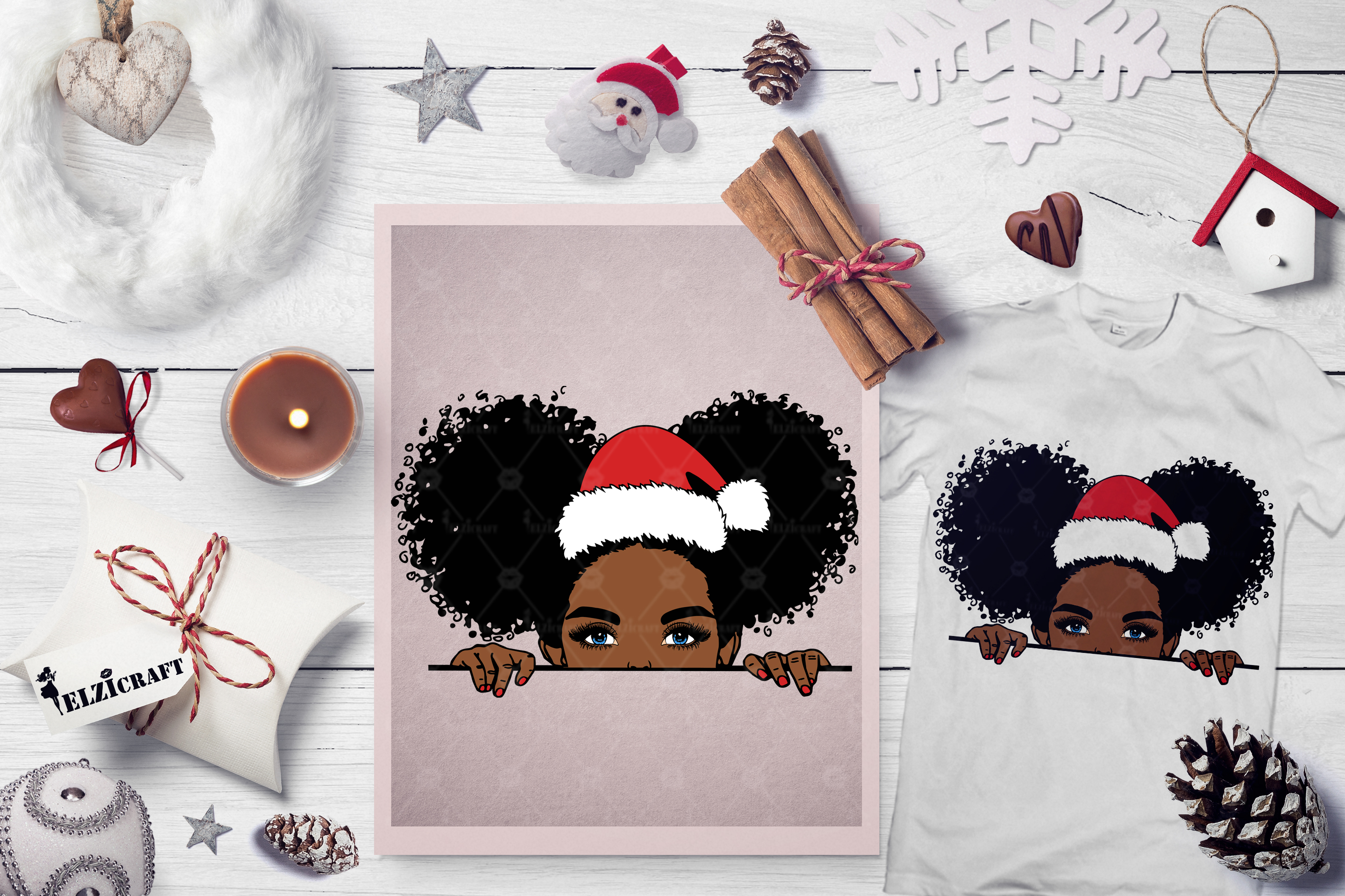 Download Free Christmas Peeking Afro Girl Peek A Boo Graphic By Elzicraft for Cricut Explore, Silhouette and other cutting machines.