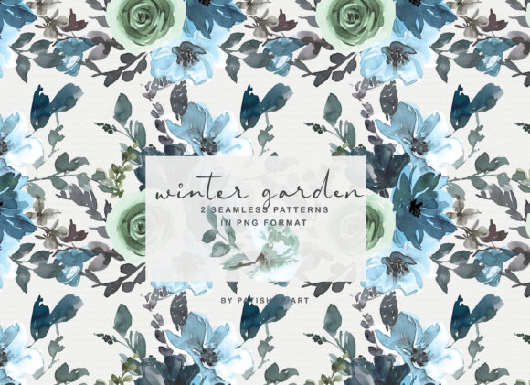 Icy Blue Watercolor Floral Clipart Set Graphic Illustrations By Patishop Art - Image 2