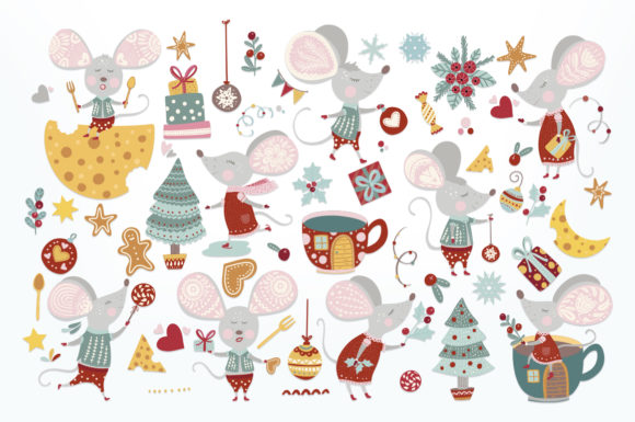 Print on Demand: Noel Christmas Mouse Bundle Graphic Illustrations By Red Ink - Image 3