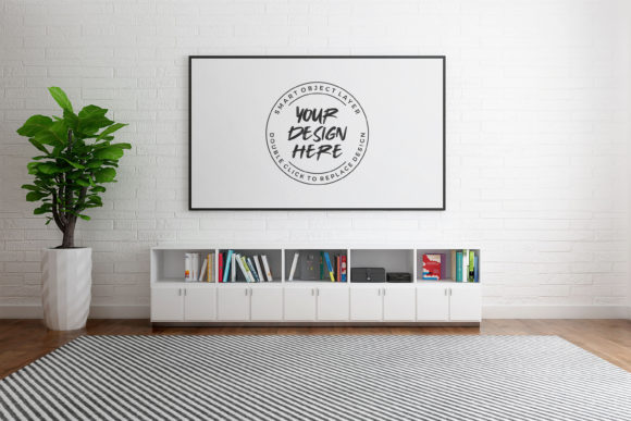 Photo Frame in Living Room Mock-up Graphic Product Mockups By nopxcreative