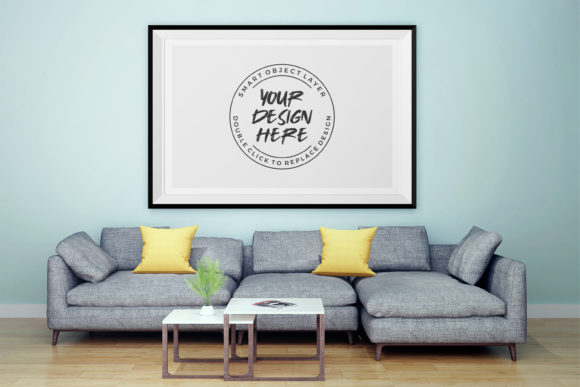 Photo Frame in Living Room Mockup Graphic Product Mockups By suedanstock