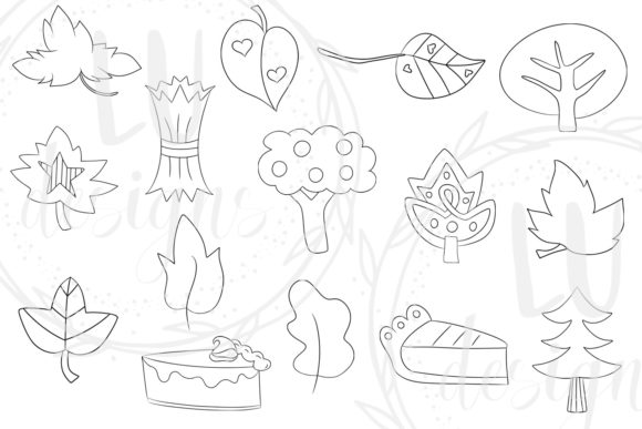 Download Free Fall Doodles Clipart Autumn Graphics Graphic By Lu Designs for Cricut Explore, Silhouette and other cutting machines.