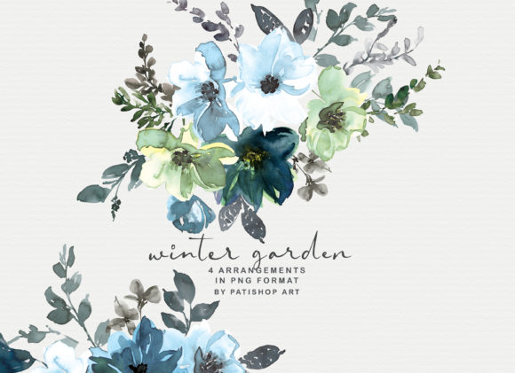 Icy Blue Watercolor Floral Clipart Set Graphic Illustrations By Patishop Art - Image 5
