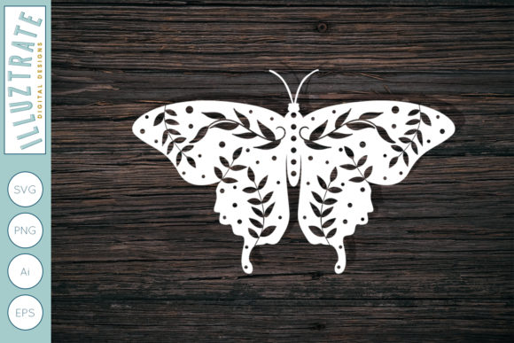 Print on Demand: Paper Cutting Butterfly Template Gráfico Crafts Por illuztrate