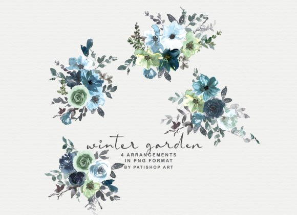 Icy Blue Watercolor Floral Clipart Set Graphic Illustrations By Patishop Art - Image 6