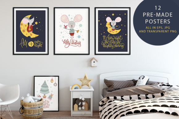 Print on Demand: Noel Christmas Mouse Bundle Graphic Illustrations By Red Ink - Image 7