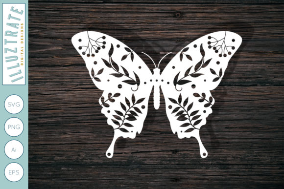 Print on Demand: Floral Butterfly Cut File Graphic Crafts By illuztrate