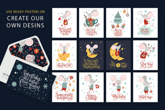 Print on Demand: Noel Christmas Mouse Bundle Graphic Illustrations By Red Ink - Image 8