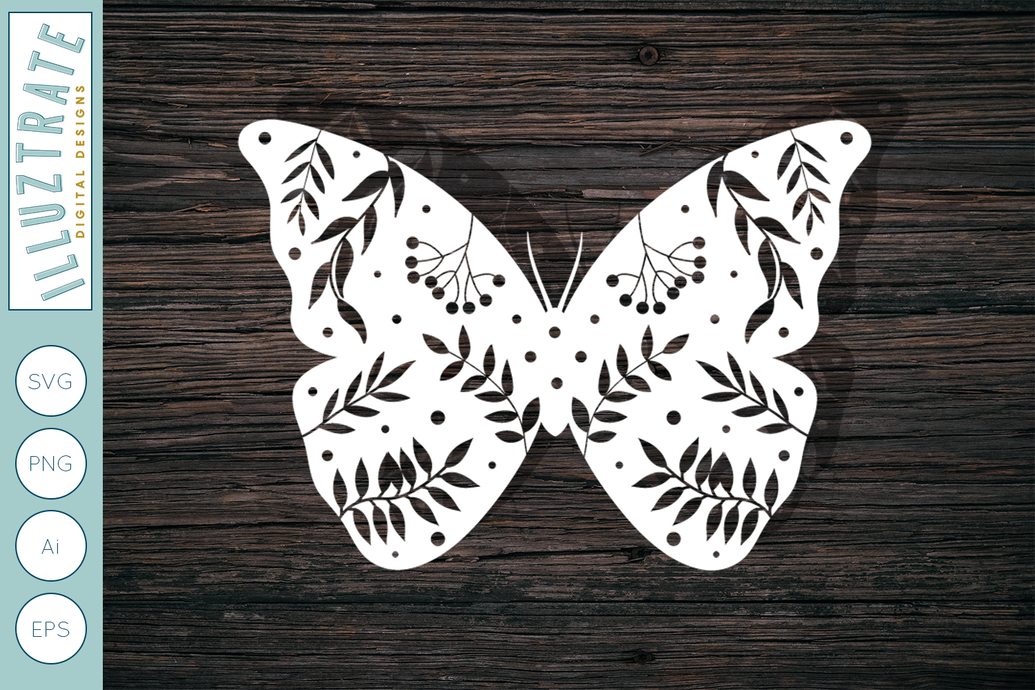 Download Free Floral Butterfly Graphic By Illuztrate Creative Fabrica for Cricut Explore, Silhouette and other cutting machines.