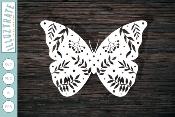Print on Demand: Floral Butterfly Graphic Crafts By illuztrate - Image 1