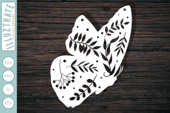 Print on Demand: Floral Butterfly SVG Cut File Graphic Crafts By illuztrate