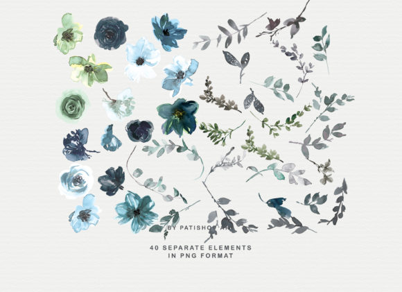 Icy Blue Watercolor Floral Clipart Set Graphic Illustrations By Patishop Art - Image 9