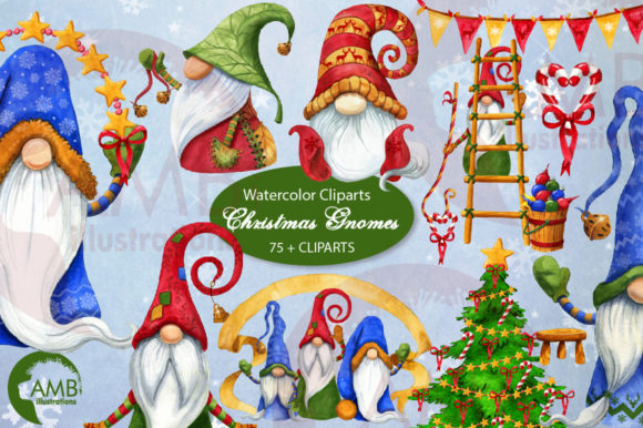 Christmas Gnomes Watercolor Super Bundle Graphic Illustrations By AMBillustrations - Image 3