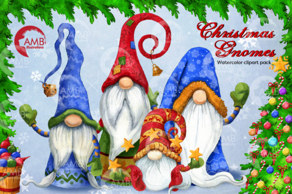Christmas Gnomes Watercolor Super Bundle Graphic Illustrations By AMBillustrations - Image 1