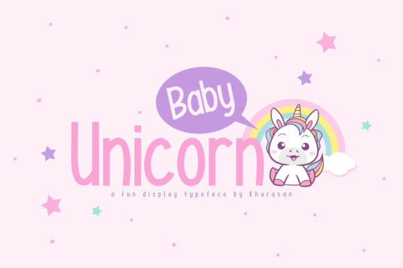 Download Free Baby Unicorn Font By Khurasan Creative Fabrica for Cricut Explore, Silhouette and other cutting machines.