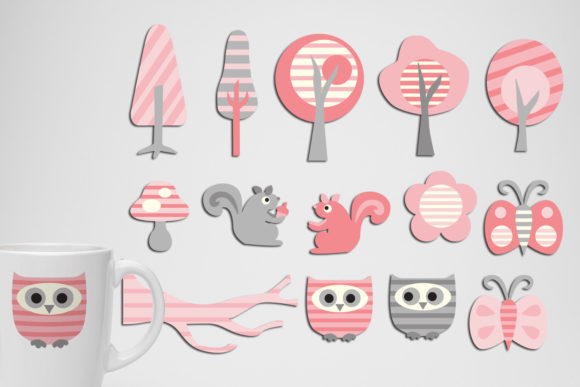 Print on Demand: Forest Pink Grey Graphic Illustrations By Revidevi