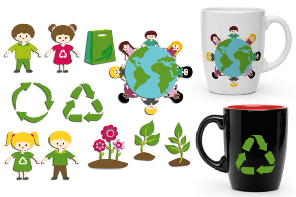 Print on Demand: Recycle and Go Green Graphic Illustrations By Revidevi