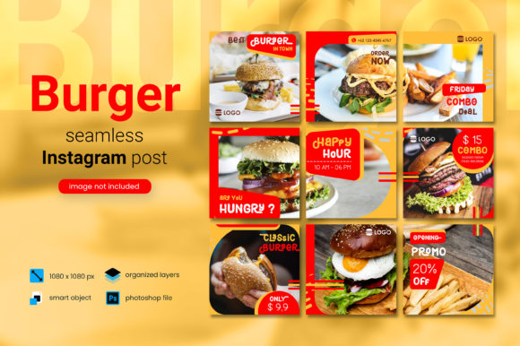 Print on Demand: Burger Social Media Post - Red Color the Graphic Websites By diqtam