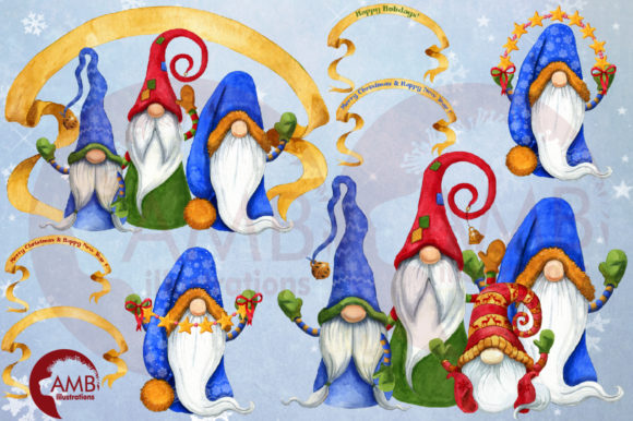Christmas Gnomes Watercolor Super Bundle Graphic Illustrations By AMBillustrations - Image 8