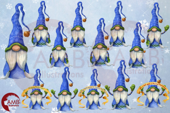 Christmas Gnomes Watercolor Super Bundle Graphic Illustrations By AMBillustrations - Image 9