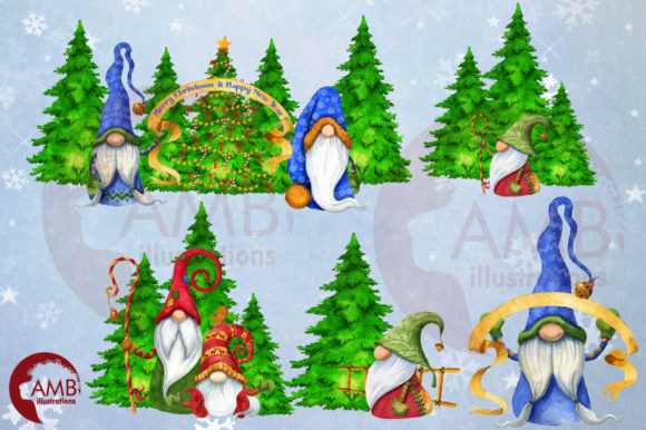 Christmas Gnomes Watercolor Super Bundle Graphic Illustrations By AMBillustrations - Image 10