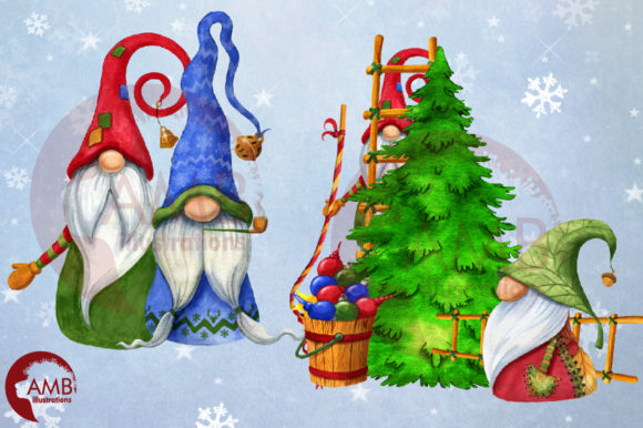 Christmas Gnomes Watercolor Super Bundle Graphic Illustrations By AMBillustrations - Image 11