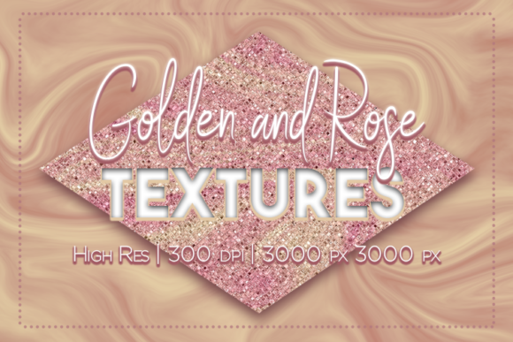 Print on Demand: Golden and Rose Textures Graphic Textures By La Oliveira - Image 1