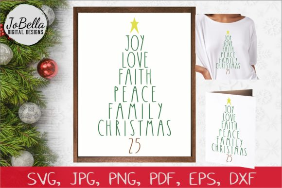 Download Free Words Christmas Tree Graphic By Jobella Digital Designs SVG Cut Files