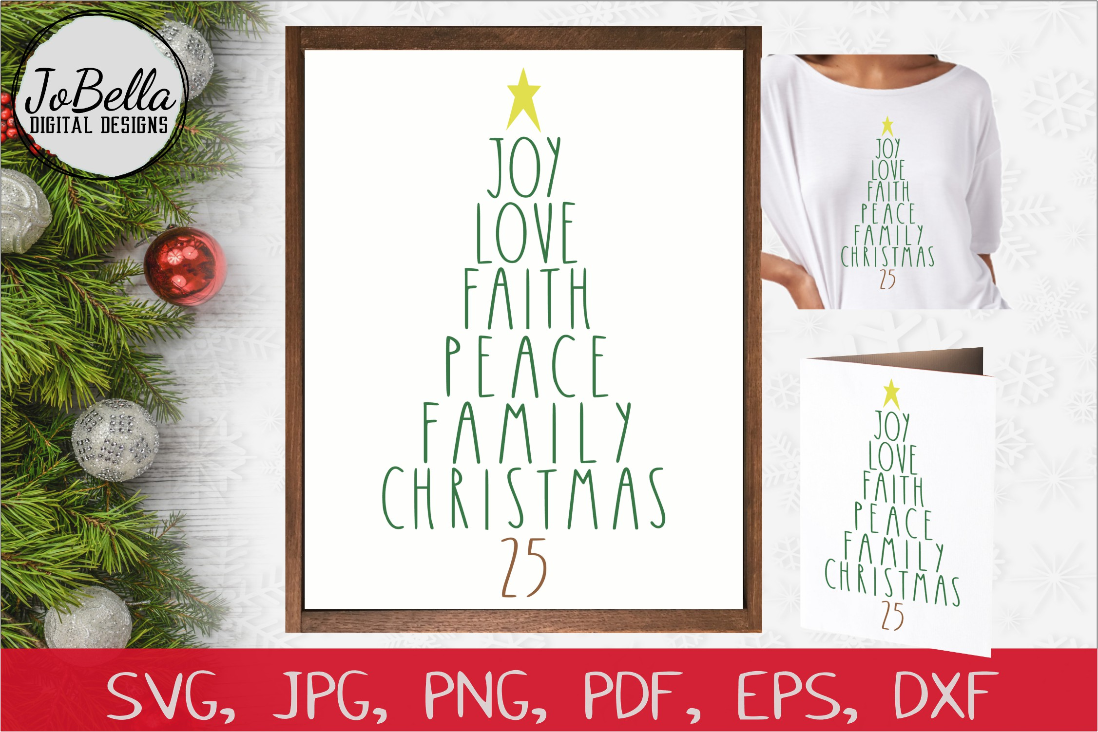 Download Free Words Christmas Tree Graphic By Jobella Digital Designs for Cricut Explore, Silhouette and other cutting machines.